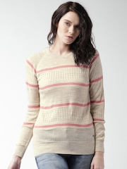 Mast & Harbour Women Beige Open knit Sweater