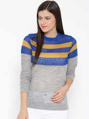Mast & Harbour Women Blue Striped Open Knit Sweater