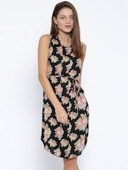 Park Avenue Woman Black Floral Print Sheath Dress