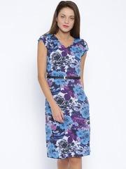 Park Avenue Woman Blue & Purple Floral Print Sheath Dress