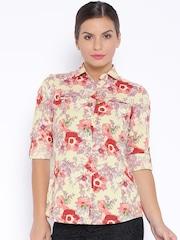 Park Avenue Woman Beige Floral Print Shirt