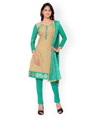 Inddus Beige & Green Printed Cotton Unstitched Dress Material