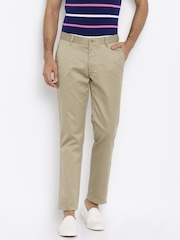John Players Men Beige Solid Regular Fit Chinos