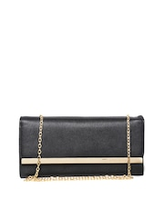 Lisa Haydon for Lino Perros Black Textured Clutch with Chain Strap