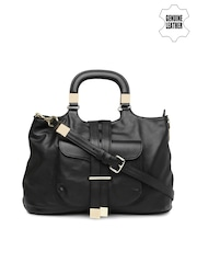VIARI Black Genuine Leather Handbag