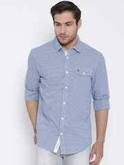 Original Penguin Blue Checked Dobby Heritage Slim Fit Casual Shirt