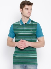 Original Penguin Green Striped Herringbone Polo T-shirt