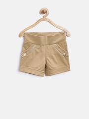 Tiny Girl Camel Brown Embellished Shorts