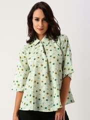 All About You from Deepika Padukone Green Printed Georgette Casual Shirt