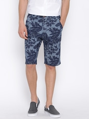 United Colors of Benetton Blue Floral Print Denim Shorts