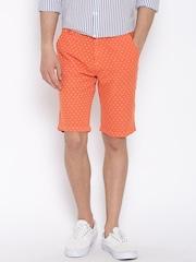 United Colors of Benetton Orange Printed Linen Slim Shorts
