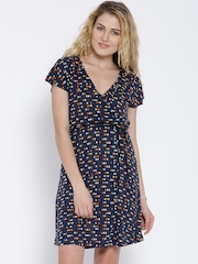 United Colors of Benetton Navy Printed Tailored Dress