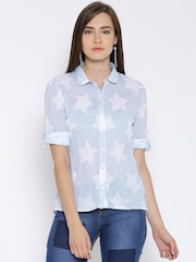 United Colors of Benetton Blue Star Print Crinkled Casual Shirt