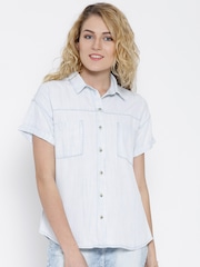 United Colors of Benetton Off-White Washed Denim Shirt