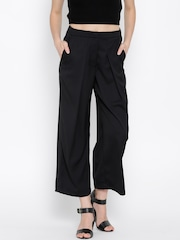 United Colors of Benetton Black Polyester Cropped Palazzo Trousers