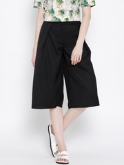 United Colors of Benetton Black Polyester Pleated Culottes
