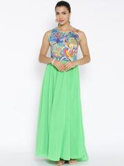 BIBA Green Printed Maxi Dress