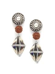 SANGEETA BOOCHRA Oxidised Silver Textured Handcrafted Drop Earrings