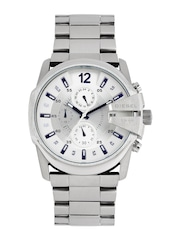 DIESEL Men Silver-Toned & White Dial Chronograph Watch DZ4181I