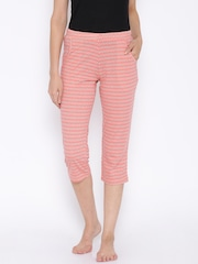 SDL by Sweet Dreams Peach-Coloured Printed Lounge Capris