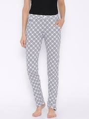 SDL by Sweet Dreams White & Navy Printed Lounge Pants F-LLP-611
