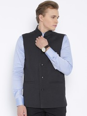 Four One Oh Charcoal Grey Checked Nehru Jacket