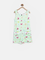 United Colors of Benetton Girls Green Striped Playsuit