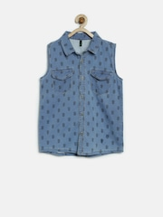 United Colors of Benetton Girls Blue Printed Denim Shirt