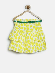 United Colors of Benetton Girls Yellow Printed Layered Flared Skirt