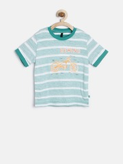 United Colors of Benetton Boys Green Reverse Striped T-shirt
