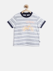 United Colors of Benetton Boys Blue Reverse Striped T-shirt