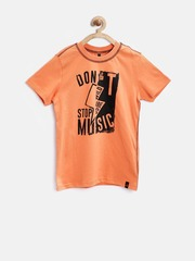 United Colors of Benetton Boys Orange Printed T-Shirt