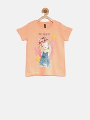 United Colors of Benetton Girls Peach-Coloured Printed T-Shirt