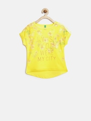 United Colors of Benetton Girls Yellow Printed Layered Top