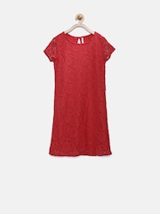 POPPERS by Pantaloons Girls Red Lace Shift Dress