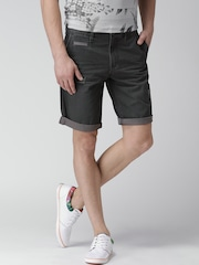Celio Charcoal Grey Distressed Shorts