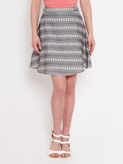 American Swan Grey Patterned A-Line Skirt