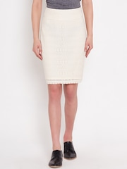 American Swan Off-White Lace Pencil Skirt