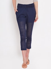 American Swan Navy Schiffli Embroidered Cropped Trousers