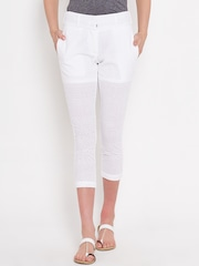 American Swan White Schiffli Embroidered Cropped Trousers