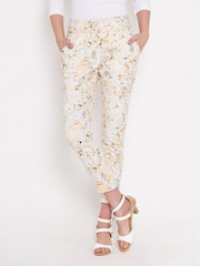 People Light Yellow Floral Print Trousers