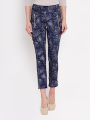 American Swan Navy Floral Print Cropped Trousers