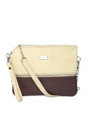 Satya Paul Beige & Brown Colourblocked Leather Sling Bag