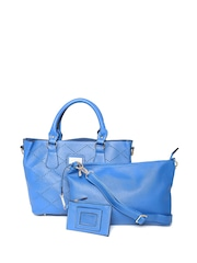 Satya Paul Blue Cut-Out Shoulder Bag with Sling Bag