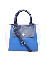 Satya Paul Blue Textured Leather Handbag with Sling Strap