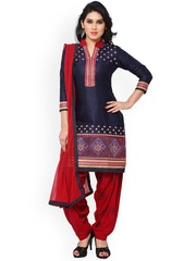 Saree mall Navy & Red Embroidered Cotton & Satin Unstitched Dress Material