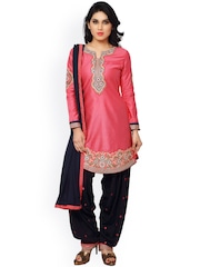 Saree mall Pink & Navy Embroidered Cotton & Satin Unstitched Dress Material