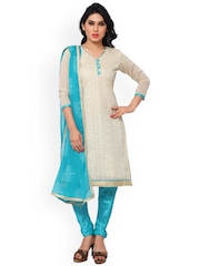 Saree mall Cream-Coloured & Blue Embroidered Cotton & Satin Unstitched Dress Material