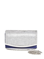 QUIZ Blue Embellished Clutch with Chain Strap