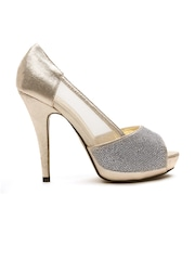 QUIZ Women Gold-Toned Embellished Platforms